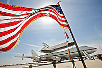 Space shuttle Endeavour, mounted aboard a Boeing 747 Shuttle Carrier Aircraft, landed at LAX. The shuttle will be removed from the 747 and placed on to a truck and moved to the California Science Center Oct. 17.