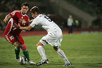 Italy's Michelangelo Albertazzi (5) pushes Hungary's Adam Dudas (10) during the FIFA Under 20 World Cup Quarter-final match at the Mubarak Stadium  in Suez, Egypt, on October 09, 2009. Hungary won 2-3 in overtime.