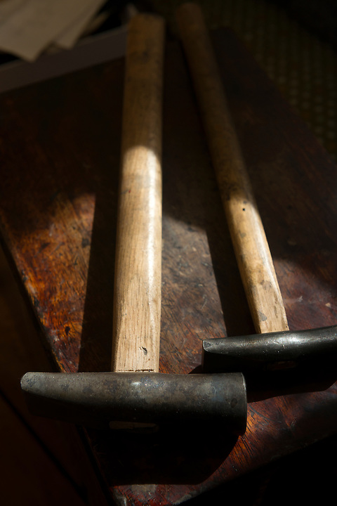 Hammers used in the restoration of samurai armour. Robert Soanes Japanese Armour and Antiques Restorer, Brighton, UK, May 6, 2016. Craftsman Robert Soanes specializes in the restoration and conservation of samurai armour, swords and other Japanese fine art. He lives and works in the English seaside resort of Brighton.
