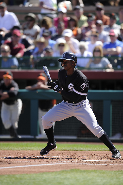 SCOTTSDALE, AZ - MARCH 09:  Juan Pierre #1 of the Chicago White Sox bats against the San Francisco Giants on March 09, 2011 at Scottsdale Stadium in Scottsdale, Arizona. The Giants defeated the White Sox 4-2.  (Photo by Ron Vesely)