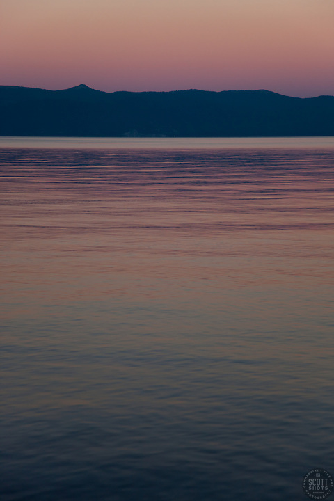 &quot;Sunset at Lake Tahoe 5&quot; - This peaceful sunset was photographed from the West shore of Lake Tahoe, California.