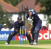 .14/07/2002 - Sport - Cricket- Norwich Union League..Middlesex Crusaders vs Gloucester Gladiators.Craig Spearman, defendin his wicket.