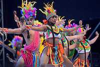 BARRANQUILLA-COLOMBIA- 11-02-2017: Danza Corporaciones Estefania Caicedo participante en La Fiesta de Danzas y Cumbias del Carnaval de Barranquilla 2016 invita a todos los colombianos a contagiarse del Jolgorio general encabezado por su reina Marcela Garcia Caballero. Este desorden organizado dará la oportunidad de apreciar a propios y extraños el desfile de danzas, disfraces y hacedores del carnaval que la convierten en una de las festividades más importantes del país y que se lleva a cabo hasta el 9 de febrero de 2016. / Danza Corporaciones Estefania Caicedo paticipant of The party of Dances and Cumbias of Carnaval de Barranquilla 2016 invites all Colombians to catch the general reverly led by their Queen Marcela Garcia Caballero. This organized disorder gives the oportunity to appreciate, by friends and strangers, the parade of dancers, customes and carnival makers that make it one of the most important festivals of the country and take place until February 9, 2016.  Photo: VizzorImage / Alfonso Cervantes / Cont