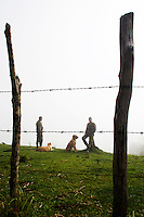 Colombian soldiers and anti-explosive dogs rest while they clean the area of explosive devices placed by guerrilla groups and criminal gangs. during a coca plant eradication program at the Antioquia mountains In Colombia so far this year have been eradicated 900 hectares in the country, mainly in rural areas, there are about 2,500 men engaged in this work. According to the Presidential Program for Comprehensive Action against Antipersonnel Mines, between 1990 and January 31, 2012, have been affected by landmines l9.642 people, of these, 674 were injured in eradication. Medellín, July 3 of 2012. Photo by Fredy Amariles/ VIEWpress.
