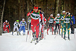 11 MAR 2011: Miles Havlick (1) of the University of Utah leads the pack during the men's 20km Classical Cross Country race during the 2011 NCAA Men and Women's Division I Skiing Championship held Stowe Mountain Resort and Trapp Family Lodge in Stowe, VT. Havlick placed 6th. ©Brett Wilhelm/NCAA Photos