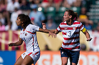 Christie Rampone, Raquel Rodriguez.  The USWNT defeated Costa Rica, 8-0, during a friendly match at Sahlen's Stadium in Rochester, NY.