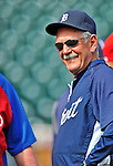 9 March 2012: Detroit Tigers Manager Jim Leyland watches batting practice prior to a Spring Training game against the Philadelphia Phillies at Joker Marchant Stadium in Lakeland, Florida. The Phillies defeated the Tigers 7-5 in Grapefruit League action. Mandatory Credit: Ed Wolfstein Photo