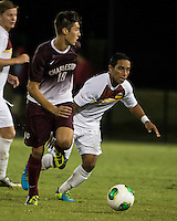 The Winthrop University Eagles played the College of Charleston Cougars at Eagles Field in Rock Hill, SC.  College of Charleston broke the 1-1 tie with a goal in the 88th minute to win 2-1.  Jake Currie (10), C.J. Miller (5)