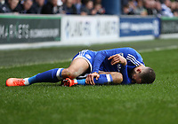 Cardiff City's Ashley Richards picks up an injury<br /> <br /> Photographer /Rob NewellCameraSport<br /> <br /> The EFL Sky Bet Championship - Queens Park Rangers v Cardiff City - Saturday 4th March 2017 - Loftus Road - London<br /> <br /> World Copyright &copy; 2017 CameraSport. All rights reserved. 43 Linden Ave. Countesthorpe. Leicester. England. LE8 5PG - Tel: +44 (0) 116 277 4147 - admin@camerasport.com - www.camerasport.com