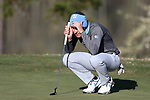 KANNAPOLIS, NC - APRIL 09: North Carolina's Jose Montano (BOL) putts on the 9th green. The third round of the Irish Creek Intercollegiate Men's Golf Tournament was held on April 9, 2017, at the The Club at Irish Creek in Kannapolis, NC.