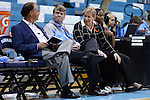 14 November 2014: UNC head coach Sylvia Hatchell (right) with assistant coaches Bill Lee (left) and Andrew Calder (center). The University of North Carolina Tar Heels hosted the Howard University Bison at Carmichael Arena in Chapel Hill, North Carolina in a 2014-15 NCAA Division I Women's Basketball game. UNC won the game 83-49.