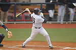 Ole Miss' Andrew Mistone (25) hits a three run double vs. UT-Martin at Oxford-University Stadium in Oxford, Miss. on Wednesday, February 20, 2013. Ole Miss won 15-2 to improve to 4-0.