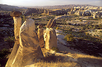 GOREME, CAPPADOCIA, TURKEY, AUGUST 2003. A local guide named 'Walking Mehmet' takes us through the valleys around Goreme. The valleys with their conical shaped Tuffstone rock formations are littered with ancient christian churches, hideouts and green orchards of the current population. Photo by Frits Meyst / MeystPhoto.com