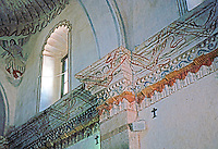 AZ: Tucson--San Xavier Del Bac, Interior East wall and cornice of nave. Frieze of drapery and fringe. Photo '96.