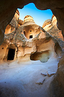 Early Christian rock cave churches in the tuff rock at Zelve, Cappadocia, Turkey