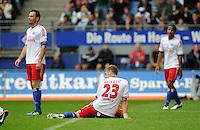 FUSSBALL   1. BUNDESLIGA   SAISON 2011/2012    6. SPIELTAG Hamburger SV - Borussia Moenchengladbach            17.09.2011 Heiko WESTERMANN,  Slobodan RAJKOVIC und Michael MANCIENNE (v.l., alle Hamburg) sind enttaeuscht
