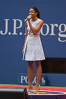 FLUSHING NY- SEPTEMBER 10: Renee Elise Goldsberry performs prior to the start of Angelique Kerber Vs Karolina Pliskova during the womens finals on Arthur Ashe Stadium at the USTA Billie Jean King National Tennis Center on September 10, 2016 in Flushing Queens. Credit: mpi04/MediaPunch