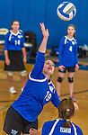 18 October 2015: Yeshiva University Maccabee Middle Blocker Marissa Almoslino, a Junior from Seattle, WA, warms up prior to a game against the College of Mount Saint Vincent Dolphins at the Peter Sharp Center, in Riverdale, NY. The Dolphins defeated the Maccabees 3-0 in the NCAA Division III Women's Volleyball Skyline matchup. Mandatory Credit: Ed Wolfstein Photo *** RAW (NEF) Image File Available ***