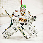 13 November 2015: University of Vermont Catamount Goaltender Madison Litchfield, a Junior from Williston, VT, in third period action against the Providence College Friars at Gutterson Fieldhouse in Burlington, Vermont. The Lady Friars defeated the Lady Cats 4-1 in Hockey East play. Mandatory Credit: Ed Wolfstein Photo *** RAW (NEF) Image File Available ***