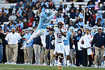 24 November 2012: UNC's Tim Scott (7) breaks up a pass to Maryland's Kevin Dorsey (12). The University of North Carolina Tar Heels played the University of Maryland Terrapins at Kenan Memorial Stadium in Chapel Hill, North Carolina in a 2012 NCAA Division I Football game. UNC won 45-38.