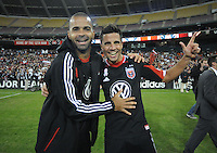 D.C. United midfielder Marcelo Saragosa and forward Maicon Santos celebrates the victory. D.C. United defeated The Columbus Crew 3-2 at RFK Stadium, Saturday October 20, 2012.