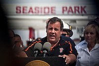New Jersey Governor Chris Christie attends a press conference where a massive fire that engulfed dozens of businesses along a boardwalkin in Seaside Park September 13, 2013 by Kena Betancur / VIEWpress