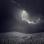Forked lightening in a landscape