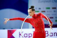 ANNA RIZATDINOVA of Ukraine performs with hoop at 2016 European Championships at Holon, Israel on June 18, 2016.