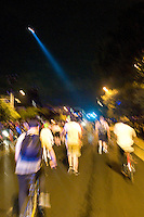 CHARLOTTE, NC - September 3, 2012 - Roughly two dozen demonstrators marched  around the city trailed by hundreds of police on foot, in patrol cars, on motorcycles, bicycles and in a helicopter.