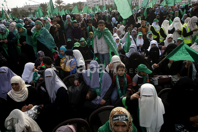 Thousands of Hamas supporters gather to celebrating marking the Islamist movement's 24nd anniversary at el-Qatiba yard in Gaza city on Dec 14, 2011. the Islamist movement of Hamas take over ruling at Gaza strip since Jun 2007.Photo by Ashraf Amra
