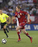 Czech Republic midfielder Jaroslav Plasil (13) brings the ball forward. In the Send Off Series, the Czech Republic defeated the US men's national team, 4-2, at Rentschler Field in East Hartford, Connecticut, on May 25, 2010.