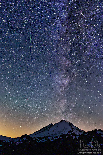 Mount Baker, Perseid Meteor and Milky Way, North Cascades, Washington