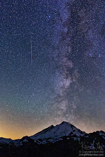 Mount Baker, Perseid Meteor and Milky Way, North Cascades, Washington