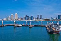 Skyline, San Diego, CA,  from Coronado Island, Ferry Landing, Boat Dock