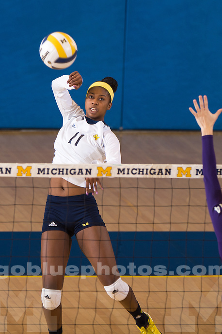 The University of Michigan volleyball team falls to Northwestern 3-1, at Cliff Keen Arena in Ann Arbor, Mich. on October 31, 2014.