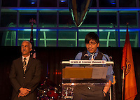 Feb. 27, 2013 - Garden City, New York, U.S. - LUIS TOLOSA, 18, a graduate of the Westbury STEM Magnet Academy (Science, Technology, Engineering, and Math) of the Cradle of Aviation, spoke at the 10th Annual Cradle of Aviation Museum Air & Space Gala, celebrating the 40th Anniversary of Apollo 17. to his left is Director of the Westbury school  S.T.E.M. Magnet program.