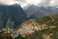 The village of Namche Bazaar located at 3,440 metres (11,286 ft) is the gateway to the high Himalaya and has many internet cafés, shops, and lodges. Every visitor to the Everest region of Nepal will visit Namche and many will spend at least one night to acclimatize.