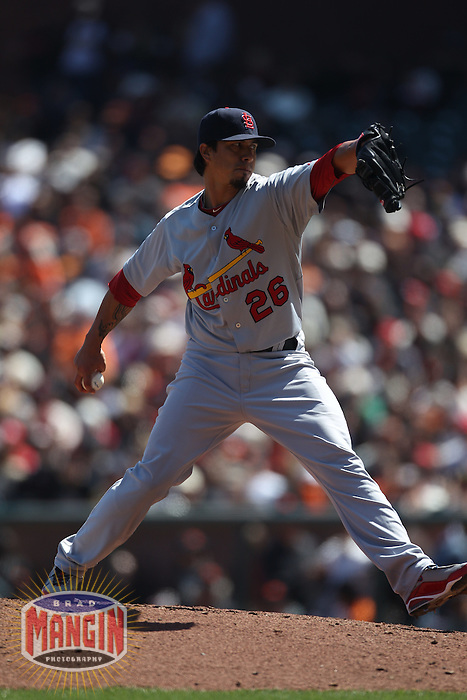 SAN FRANCISCO - APRIL 10:  Kyle Lohse #26 of the St. Louis Cardinals pitches against the San Francisco Giants during the game at AT&T Park on April 10, 2011 in San Francisco, California. Photo by Brad Mangin