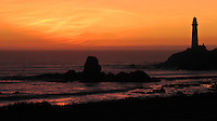 "From the California State Parks Department, ""The rocky island in the middle of the cove is called ""Prisoner Rock"" because fishermen were often stranded on it when high tides cut off their return to shore. ""  A Winter sunset at Pigeon Point Light Station."