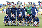 U.S. starting lineup. Front row (l to r): Heather O'Reilly, Lori Chalupny, Cat Reddick, Shannon Boxx, Kristine Lilly. Back row (l to r): Amy LePeilbet, Christie Welsh, Aly Wagner, Kate Markgraf, Hope Solo, Abby Wambach on Sunday June 26th, 2005, during an international friendly soccer match at Virginia Beach Sportsplex in Virginia Beach, Virginia. The United States won the game 2-0.
