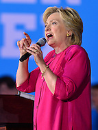 Harrisburg, PA - July 29, 2016: Democratic presidential candidate Hillary Clinton speaks to supporters at the Broad street Market in Harrisburg, PA, during a campaign stop on the Clinton/Kaine bus tour July 29, 2016, as former president Bill Clinton looks on. (Photo by Don Baxter/Media Images International)