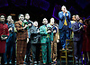 Guys and Dolls<br /> by Damon Runyon / Frank Loesser<br /> at The Savoy Theatre, London, Great Britain <br /> press photocall<br /> 4th January 2016 <br /> <br /> Gavin Spokes as Nicely Nicely Johnson with <br /> ensemble<br /> <br /> <br /> Photograph by Elliott Franks <br /> Image licensed to Elliott Franks Photography Services