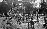 "South Park PA: Stewart children having fun at the South Park Swimming pool - 1931. The philosophy of recreation in the '20s and '30s was different than it is today. The differences between the haves and the have-nots of society was understood differently, and the county parks were called ""the people's country clubs,"" bringing to poorer people the same recreation that the wealthy paid for at private clubs: golf, tennis, swimming, picnicking. The parks offered common folk the chance to escape to rural campgrounds, day camps, and ""retreats."" Certain modern recreational concepts had not yet arrived: people didn't ""swim,"" they ""bathed""; hence, a large South Park pool was only four feet deep at its deepest point."