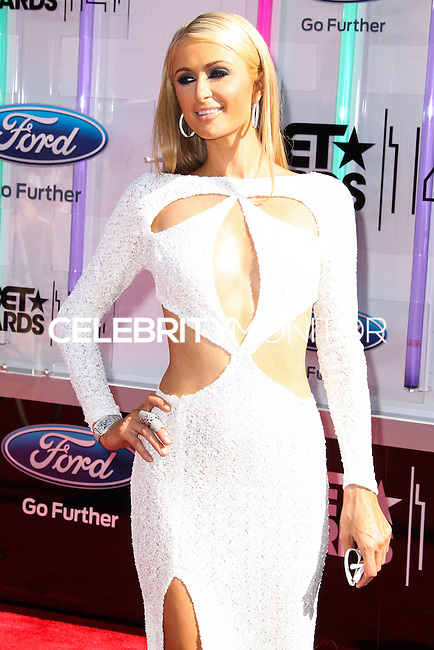 LOS ANGELES, CA, USA - JUNE 29: Paris Hilton arrives at the 2014 BET Awards held at Nokia Theatre L.A. Live on June 29, 2014 in Los Angeles, California, United States. (Photo by Xavier Collin/Celebrity Monitor)