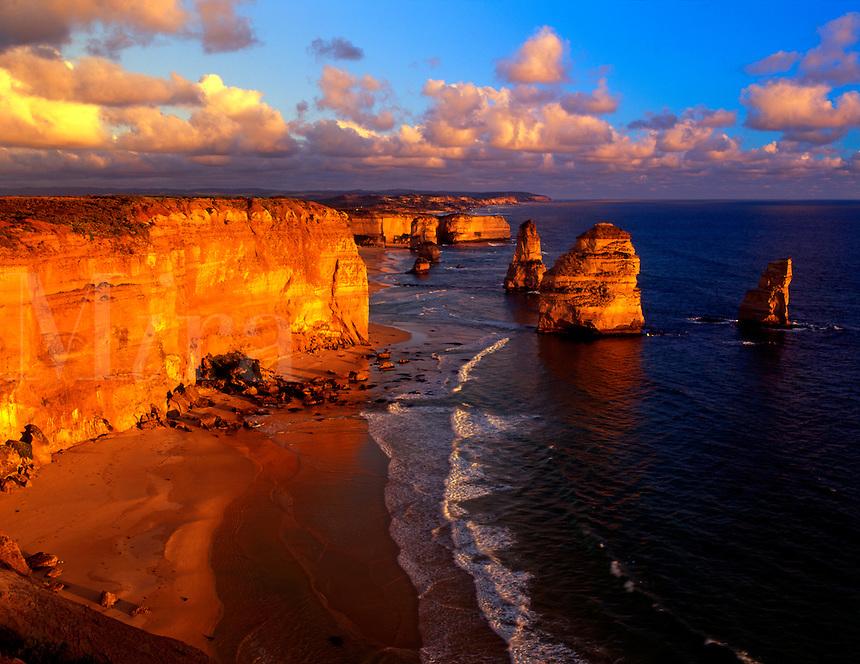 AUS-10a  12 Apostles, sunset, Port Campbell National Park, Great Ocean Rd. Victoria, Australia.  Original:  Medium Format.