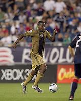 Philadelphia Union forward Danny Mwanga (10) dribbles. The Philadelphia Union defeated New England Revolution, 2-1, at Gillette Stadium on August 28, 2010.