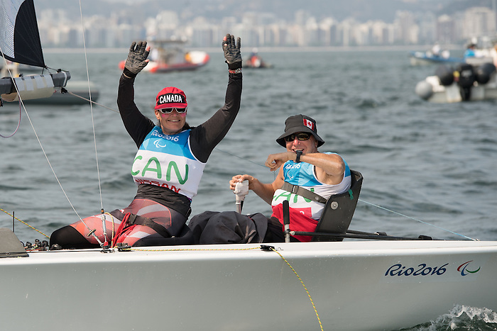 RIO DE JANEIRO - 17/9/2016: John McRoberts and Jackie Gay compete in the 2-Person Keelboat (SKUD18) at the Marina da Gloria during the Rio 2016 Paralympic Games in Rio de Janeiro, Brazil. (Photo by Matthew Murnaghan/Canadian Paralympic Committee)