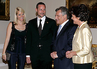 Crown Prince Haakon & Crown Princess Mette-Marit of Norway's three-day visit to Poland..Dinner at the Presidential Palace with HE The President of the Republic of Poland & Mrs Jolanta Kwasniewska..