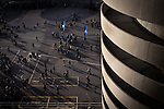 Internazionale 1 Cagliari 2, 16/10/2016. San Siro, Italian Serie A. Home fans leaving the stadium at the Stadio Giuseppe Meazza, also known as the San Siro, after Internazionale took on Cagliari in an Italian Serie A fixture. The match was overshadowed by a huge controversy that as Inter Ultras declared open warfare on captain Mauro Icardi for a chapter in his autobiography, accusing him of lying about an incident in 2015. Inter Milan lost the match 2-1, watched by a crowd of 43,757. Photo by Colin McPherson.