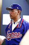 6 March 2002: Montreal Expos General Manager Omar Minaya announces his first move in his new position: trading Geoff Blum to the Houston Astros after a Spring Training game against the Philadelphia Phillies at  at Roger Dean Stadium in Jupiter, Florida. Mandatory Credit: Ed Wolfstein Photo